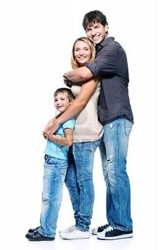 Family With Child Posing On White Background Royalty Free Stock Photo ...