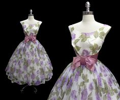 Vintage 1950s Purple Floral Chiffon and Satin Full Skirt Cocktail Party Dress S