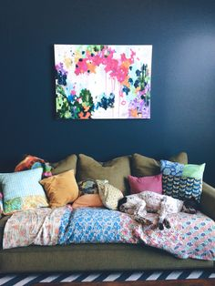 Benjamin Moore Hale Navy walls. Abstract art. Eclectic living room