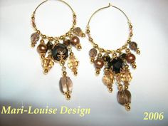 Earrings of different kinds of beads and gems
