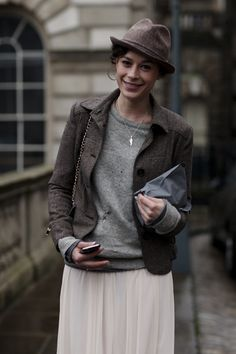Love this look (and her curly hair) : On the Stree$t....Alex, London from the Sartorialist