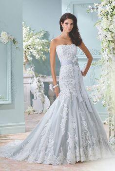 Blue David Tutera wedding dress via Mon Cheri Bridals