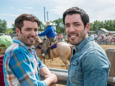 Jonathan and Drew Scott take in a show at the Bar U Ranch Rodeo.