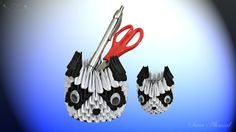 How to make 3d origami pen holder - panda