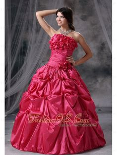Panora Iowa Hand Made Flowers and Pick-ups Decorate Bodice Ruch Ball Gown Floor-length Coral Red Strapless Military Ball Gowns For 2013- $176.49