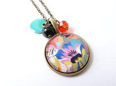 Sautoir cabochon abstrait floral multicolore