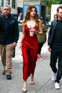 Selena Gomez | satin red sleeveless slip maxi dress + gold strappy heeled sandals