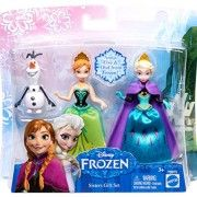 Three favorite characters from the Disney film Frozen come together in one story gift set that will charm and delight fans of the film Girls will recognize Anna's Norwegian rosemaling-inspired design and Elsa's signature snowflakes Both girls also sport their iconic capes, Anna's a sweet pink and Elsa's a sheer ethereal white