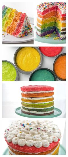 If you havent already fallen in love with naked cakes its time! This beautiful trend may be the easiest (and prettiest) way ever to enjoy a cakeand this rainbow version is pure perfection. Baking Recipes, Cake Recipes, Dessert Recipes, Desserts, Yummy Treats, Sweet Treats, Yummy Food, Rainbow Food, Rainbow Cakes