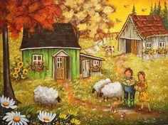 La petite fermette d'Alice Cute N Country, Country Art, B Image, Ecole Art, Farm Barn, Autumn Art, Watercolor Paintings, Folk, Seasons