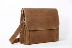 Image of Handcrafted Vintage Style Real Leather Briefcase Men Messenger Bag, Crossbody Shoulder Bag PD01