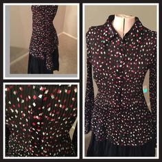 Apt. 9 Gorgeous blouse Absolutely gorgeous blouse!  Red, black and white. Sheer, so a camisole will be needed underneath. Satin trim down buttons in front. You will get so many compliments when you wear this. Apt. 9 Tops Blouses