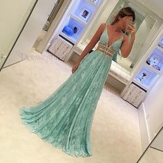 Special A Line Mint Green Prom Dress - V Neck Lace Sweep Train with Beading
