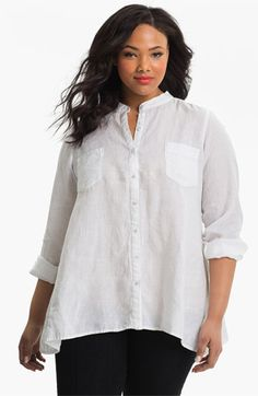 Eileen Fisher Mandarin Collar Shirt (Plus) available at #Nordstrom