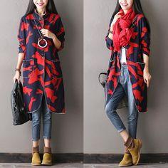Fish Casual Loose Wind Coat Big Pocket Women Clothes W0102A