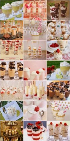 15 Recipes for Dessert Shooters --- The link has 15 shot recipes, the rest of the pics are inspirational DIY ideas (these are really fun for any kind of celebration!)
