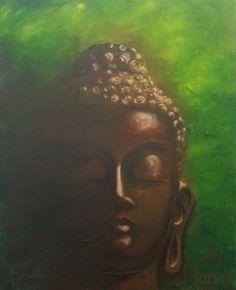 love my green Buddha, Acryl on canvas