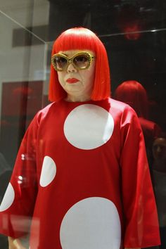 Let's all dye our hair Rihanna red and wear dots!  Artist Yayoi Kusama, octogenarian, icon / Photo: Susie Lau of Style Bubble