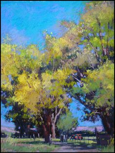 """""""Autumn Shadows"""" Pastel by Terri Ford On exhibit at the California Art Club Pastel Landscape, Abstract Landscape, Landscape Paintings, Pastel Artwork, Paintings I Love, Horse Paintings, Pastel Paintings, Guache, Watercolor Trees"""