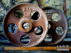 """8"""" Antique Industrial Cart Wheels, Vintage Cast Iron Metal Factory Lineberry Furniture Casters. $115.00, via Etsy."""