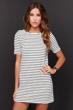 Law Bender Black and Ivory Striped Dress