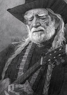 Willie Nelson illustration for the Washington Post by Stavros Damos.