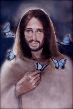 Jesus with Butterflies by ChristianArtPainting on Etsy, $20.00