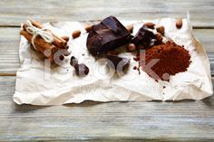 Slices of chocolate and pinch cinnamon royalty-free stock photo Top View, Camembert Cheese, Cinnamon, Royalty Free Stock Photos, Chocolate, Easy, Food, Canela, Meal