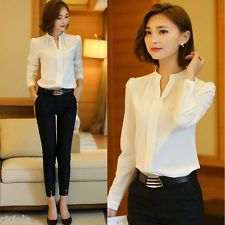 Office look ❤️ Fashion Women Ladies Long Sleeve Loose Blouse Summer V Neck Casual Shirt Tops White Chiffon Blouse, Chiffon Shirt, Chiffon Tops, Sleeveless Shirt, Lace Tops, Long Sleeve Tops, Long Sleeve Shirts, Formal Tops, Casual Chique