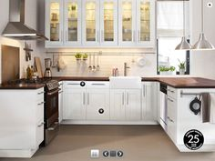 ikea farmhouse kitchen. nice, but i don't like the pulls. would be better with granite countertops