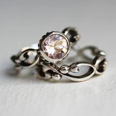Pink morganite engagement ring set - bezel solitaire - recycled sterling silver - filigree wedding band- Wrought ring. $310.00, via Etsy.