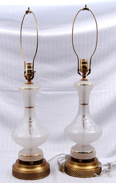 Crystal Lamps (rewired) for auction. Measures approximately high Crystal Lamps, Candle Holders, Auction, Canada, Candles, Crystals, Lighting, Antiques, Antiquities