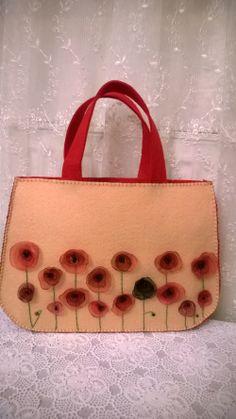 felt bag, bag, poppy, keçe, keçe çanta