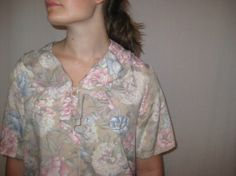 Vintage 1980s Pink Blue Floral Silky Ruffled Blouse by TheRareBird, $15.99