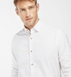SLIM FIT WHITE SHIRT WITH TRIBAL PLACKET, Casual shirts - MEN - Massimo Dutti