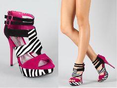 Anne Michelle Dynamite-75 Zebra Colorblock Sandal
