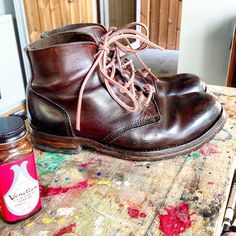 Dundas Footwear - A few minutes with the brush, a can of Venetian Balm, a cloth and some new laces - and the first pair of Dundas Type 01 are ready to go, and go far. #dundasfootwear #benchmade #venetianbalm #tuneup #leather #horween #horween #bikerboots #smelltheleather