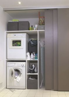 Install Waschmaschine im Bad, Wäsche - Salle de bain - Mobel Laundry Cupboard, Laundry Storage, Room Design, Room Organization, Bathroom Storage, Utility Rooms, Laundry, Storage, Basement Laundry