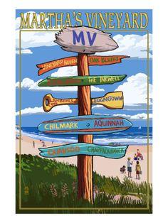Martha's Vineyard - Destination Sign Print by Lantern Press
