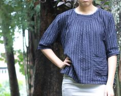 Jasmine....indigo Hand Embroidery Blouse... by cocoricooo on Etsy