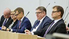 Hallituspuolueiden puheenjohtajat valtiopäivien avauskeskustelussa 9. helmikuuta.