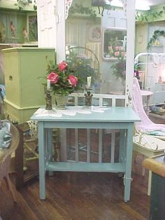 Library Table Writing Desk Hand PaintedGorgeous by rosesnmygarden, $365.00
