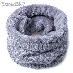 39f742a1ab2 2017 New Fashion Women Winter Scarf Knitted Scarves Plus Velvet Cotton Neck  Warm Scaves Women Children Boys Scarf Men Loop Scarf
