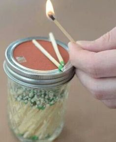 Matches in mason jar. Sand paper on the lid to enlighten it