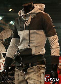 Men's Double Color Line Hoodie Zipup Jacket_Gray (US Size-S)