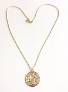 Gold St. Benedict Medal Pendant Necklace - Tiny Gold Plated ball Chain - San Benito Necklace -Medalla San Benito