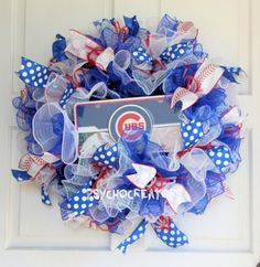 Chicago Cubs Wreath for the WORLD SERIES 2016 WINNERS! Red White Blue Baseball by PsychoCreators