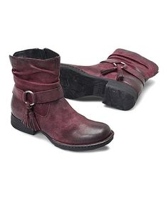 Love this Burgundy Distressed Cory Leather Ankle Boot - Women on #zulily! #zulilyfinds