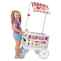Let your little one's imagination run wild with the Melissa & Doug Snacks & Sweets Food Cart. This wooden food cart provides a variety of play scenarios: hot dog stand, ice-cream cart or mobile market with over 40 play pieces. Ice Cream Stand, Ice Cream Cart, Wooden Play Food, Wooden Cart, Hot Dog Cart, Play Food Set, Hot Dog Stand, Soft Pretzels, Melissa & Doug