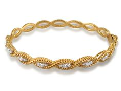 Roberto Coin Barocco Braided Cable Diamond Bangle Bracelet, Fashioned in 18K Yellow Gold, Featuring Twenty-Two Round Diamonds =.56cts Total Weight